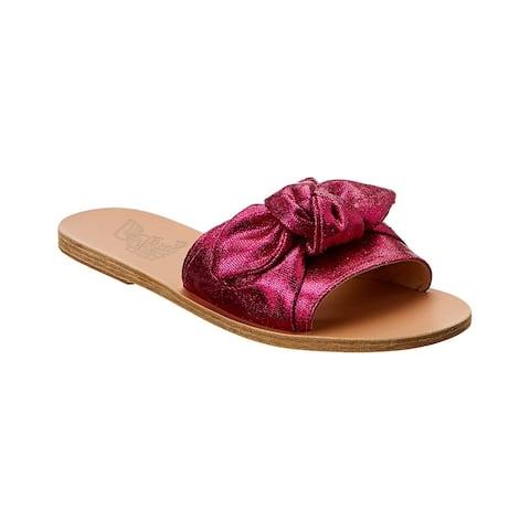 Ancient Greek Sandals Taygete Bow Metallic Canvas Slide