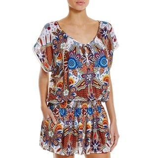 Red Carter Womens Printed Tunic Dress Swim Cover-Up