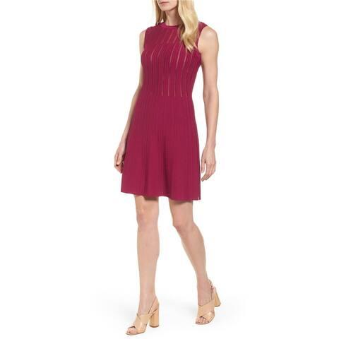Anne Klein Womens Textured Shift Dress, purple, Large