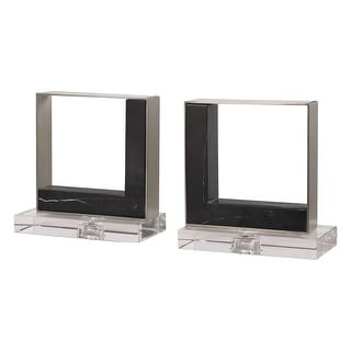 "Link to Set of 2 Black and Clear Contemporary Modern Bookends 8"" Similar Items in Desk Accessories"