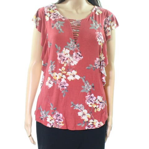 Bobeau Womens Large Floral-Printed Strappy Blouse