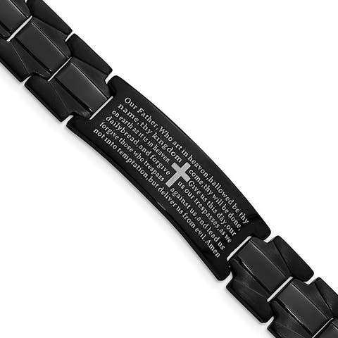 Chisel Stainless Steel Brushed and Polished Black IP-plated Lord's Prayer 8.5 Inch Bracelet
