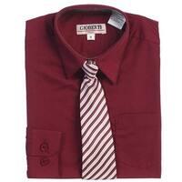 Burgundy Button Up Dress Shirt Gray Striped Tie Set Boys 5-18