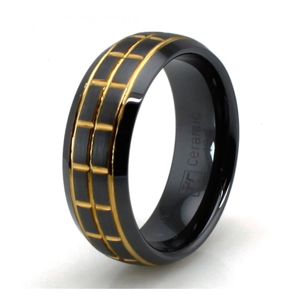 Golden Groove Black Ceramic Ring