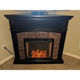 Copper Grove Amistad Ebony Faux Stone Corner Electric Media Fireplace - N/A