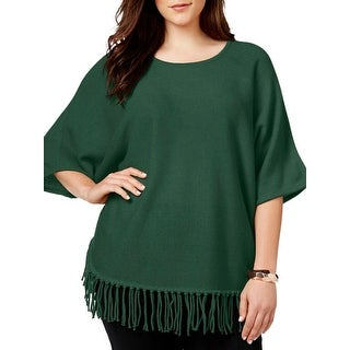 NY Collection Womens Plus Poncho Sweater Fringe Knit