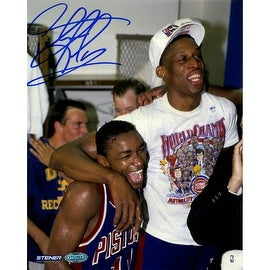 Dennis Rodman Celebrating w/ Isiah Thomas Signed 8x10 Photo