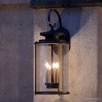 "Luxury Rustic Outdoor Wall Light, 22.75""H x 9.875""W, with Colonial Style Elements, Olde Bronze Finish by Urban Ambiance"