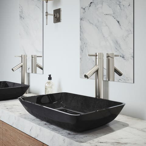 VIGO Grey Onyx Glass Vessel Bathroom Sink and Dior Vessel Faucet Set