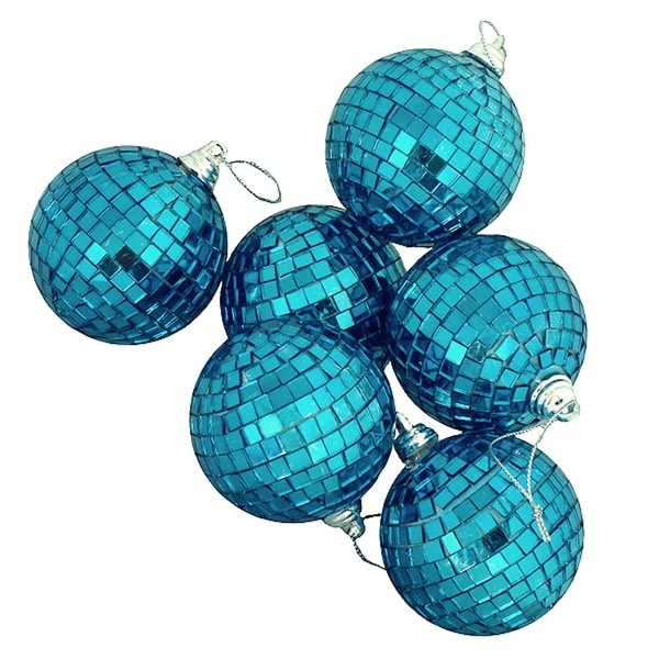 "6ct Peacock Blue Mirrored Glass Disco Ball Christmas Ornaments 3.25"" 80mm"