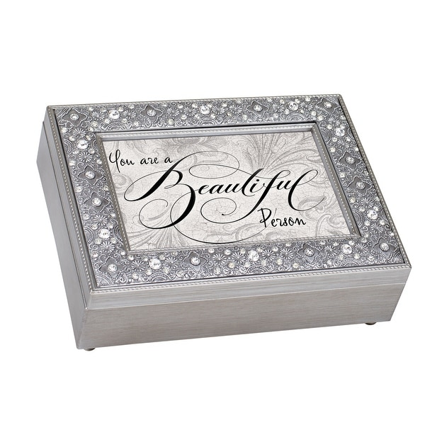 "8"" Gray and Black Stones Accented Music Keepsake Box - N/A"