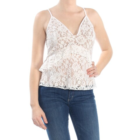 FRENCH CONNECTION Womens Ivory Ruffled Lace V Neck Intimates Top Size: M