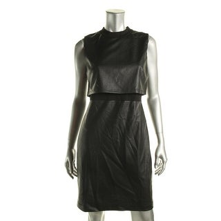 French Connection Womens Faux Leather Crew Neck Wear to Work Dress