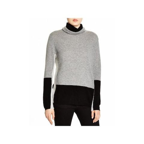 Magaschoni Womens Pullover Sweater Colorblock Cashmere - Smoke Mouline-Black-Stone - M