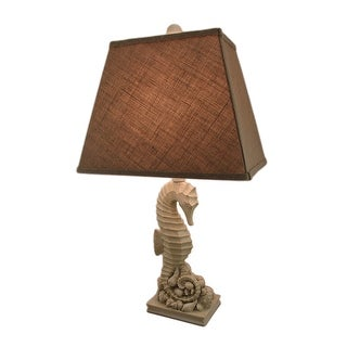 25 in. Seahorse On Shells Tropical Beige Finish Table Lamp w/Fabric Shade