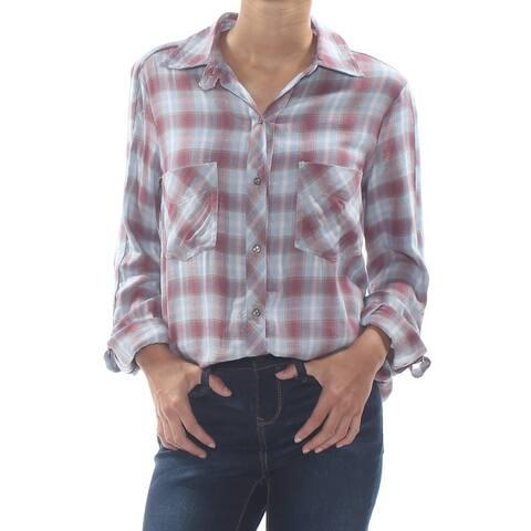 WILLIAM RAST Womens Light Blue Plaid Carina Carina Adjustable Sleeve Top Size: XS