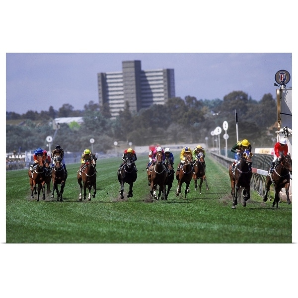 """""""Horses in the Great Western HCP race, Melbourne Cup Carnival, Victoria, Australia"""" Poster Print"""