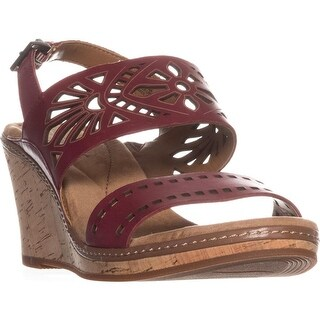 Easy Spirit Kristina Wedge Sandals, Red Leather