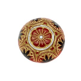 Czech Glass, Engraved Round Cabochons with Gilded Floral Motif 18mm, 2 Pieces, Gold/Jet on Red