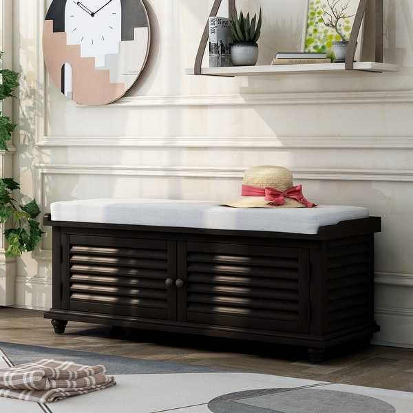 Louver Entryway Wooden Storage & Shoe Bench with Cushion, Pure Black. Opens flyout.