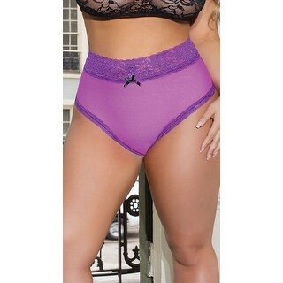 456fc39cf920 Shop Plus Size High Waisted Magenta And Lace Thong - Magenta/Black - One  Size Fits most - Free Shipping On Orders Over $45 - Overstock - 18287794