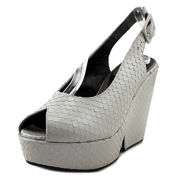 3487bd5424 Robert Clergerie Dylan J Women Peep-Toe Synthetic Gray Slingback Heel