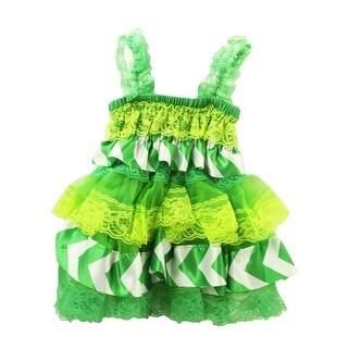 Baby Girls Kelly Green Lime White Chevron Satin Lace Ruffle Dress Dress 6-24M