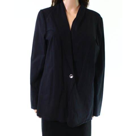 Nic+Zoe Black Onyx Womens Size Large L One Button Seamed Jacket