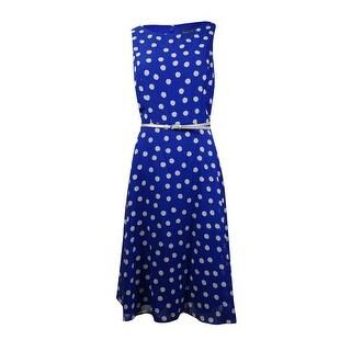 Jessica Howard Women's Belted Polka Dot Chiffon Dress - ROYAL - 10