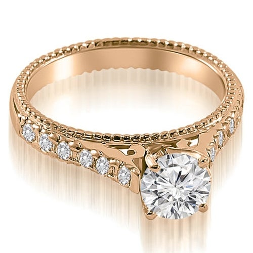 0.90 cttw. 14K Rose Gold Vintage Cathedral Round Cut Diamond Engagement Ring