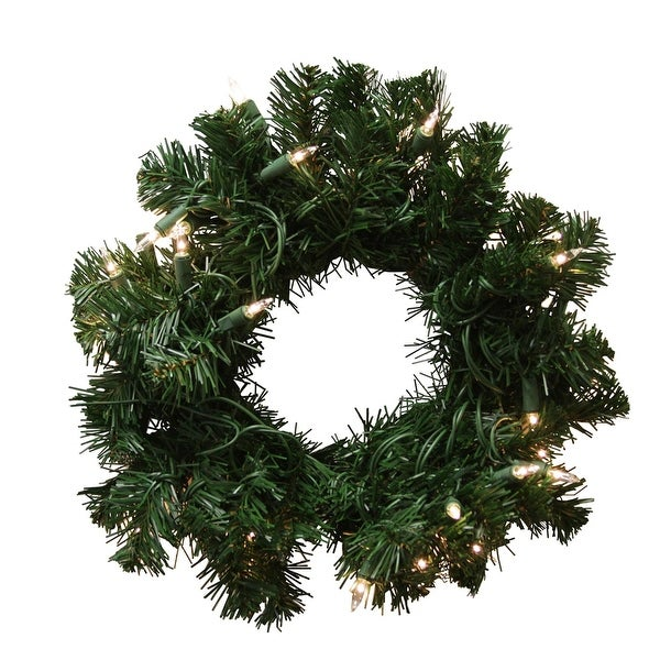 "16"" Pre-Lit Deluxe Windsor Pine Artificial Christmas Wreath - Clear Lights - green"