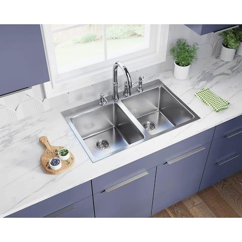 MR Direct T3120D Topmount Double Bowl 3/4-Inch Radius Kitchen Sink