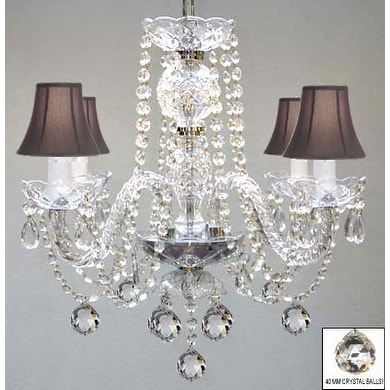 Venetian Style All Crystal Chandelier Lighting With Crystal Balls & Black Shades