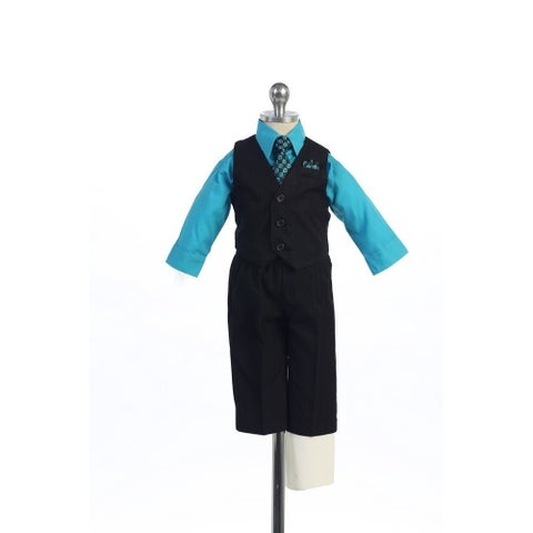 Angels Garment Turquoise 4 Piece Pin Striped Vest Set Boys Suit 2T-4T