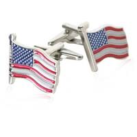 American Flag Patriotic United States Land Of The Brave Land Of The Free Cufflinks