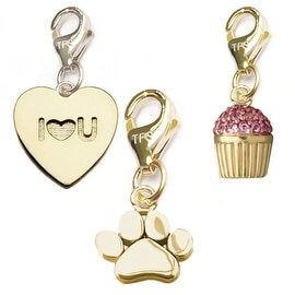 Julieta Jewelry Paw, I Heart U Heart, Cupcake 14k Gold Over Sterling Silver Clip-On Charm Set