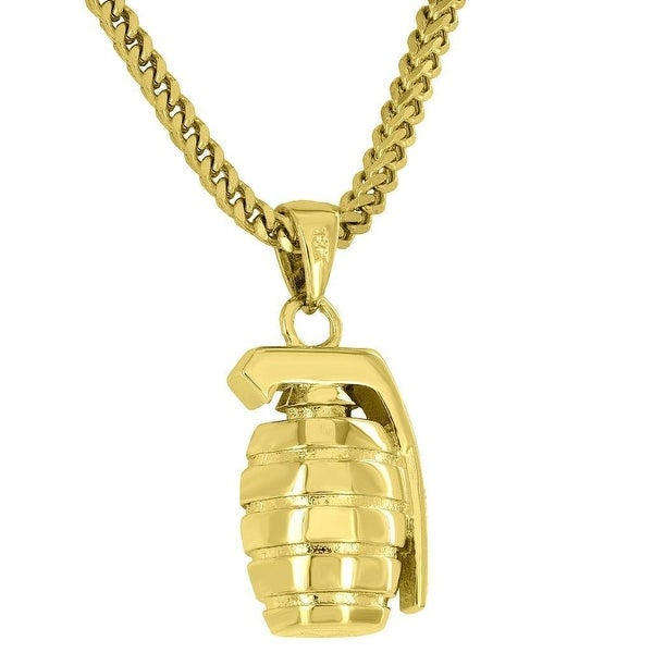 Mens Designer Grenade Explosives Pendant 18K Gold Tone Free Franco Stainless Steel Necklace