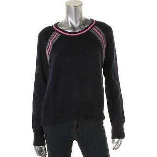 Aqua Womens Cashmere Colorblock Pullover Sweater