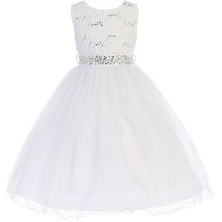 Flower Girl Dress Glitter Sequin Top & Rhinestone Sash White JK 3670