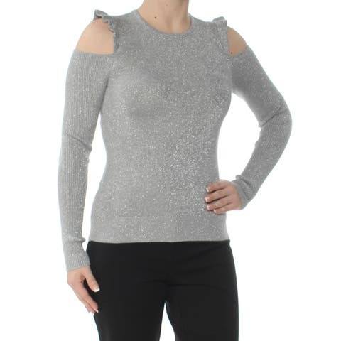 DKNY Womens Gray Ruffled Cold Shoulder Glitter Long Sleeve Crew Neck Top Size: 2XS