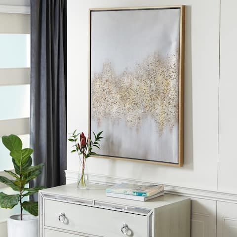 Gold Metal Glam Framed Wall Art Abstract 40 x 30 x 2 - 30 x 2 x 40