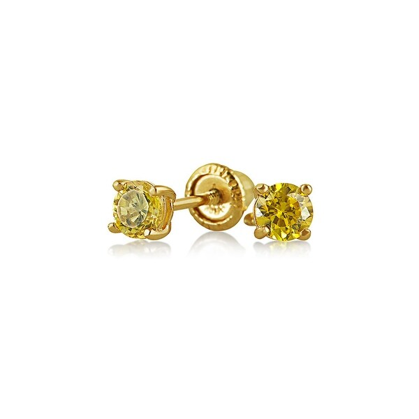 Tiny Cubic Zirconia Canary Yellow Imitation Citrine CZ Round Solitaire Stud Earrings Real 14K Yellow Gold Screwback