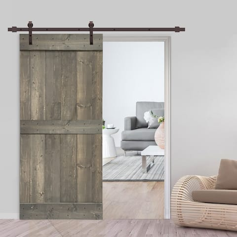 42 in x 84 in Weather Gray Stained Barn Door w/ Sliding Hardware
