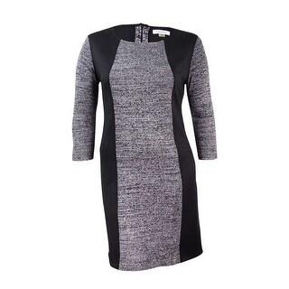 Calvin Klein Women's Marled Colorblocked Sweater Dress - Black