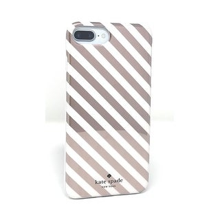 Kate Spade New York Diagonal Stripe Protective Rubber Case For iPhone 7 Plus & iPhone 8 Plus - Rose Gold Cream