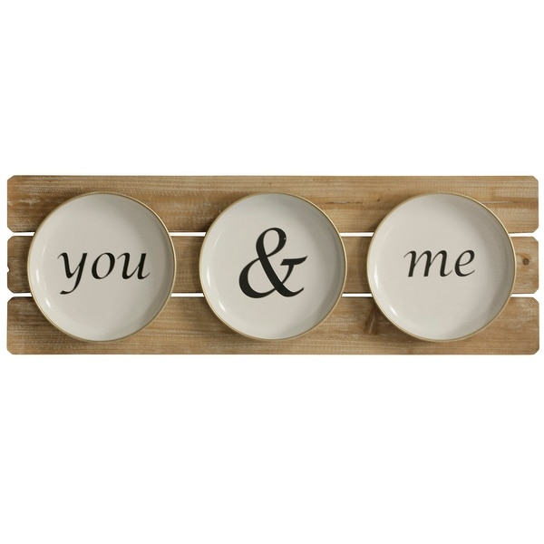 """StyleCraft SC-WI52451 11 7/8"""" x 35 3/8"""" - """"You and Me Plates"""" Iron and Wood Text and Symbols Wall Sculpture - Black and White"""