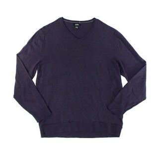 Alfani Rocky Slate Mens V-Neck Ribbed-Knit Sweater