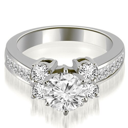 1.25 cttw. 14K White Gold Channel Round Cut Diamond Engagement Ring