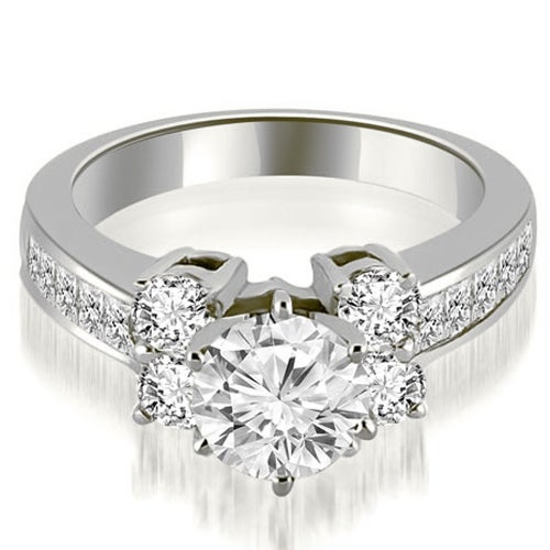 1.75 cttw. 14K White Gold Channel Round Cut Diamond Engagement Ring