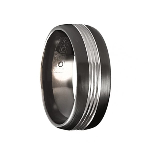 KAHN Torque Black Cobalt Wedding Band Brushed Finish Center Grooved Line Accent by Crown Ring - 7 mm